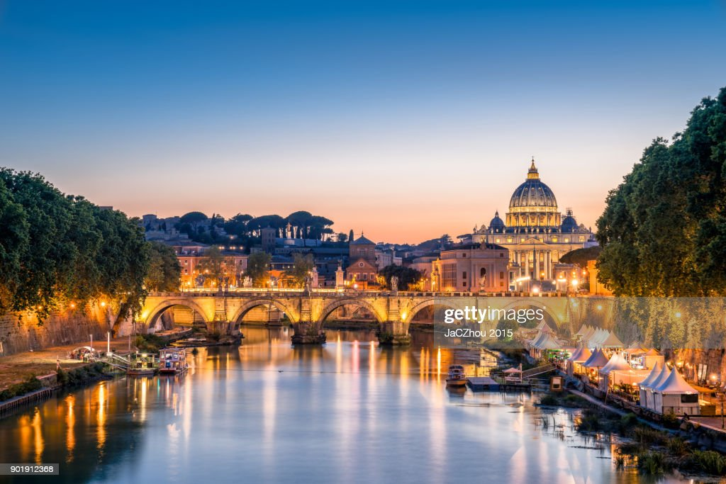 Rome Tiber and St Peters Basilica Vatican Italy : Stock Photo