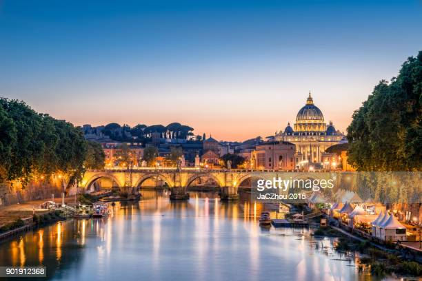 rome tiber and st peters basilica vatican italy - rome italy stock pictures, royalty-free photos & images