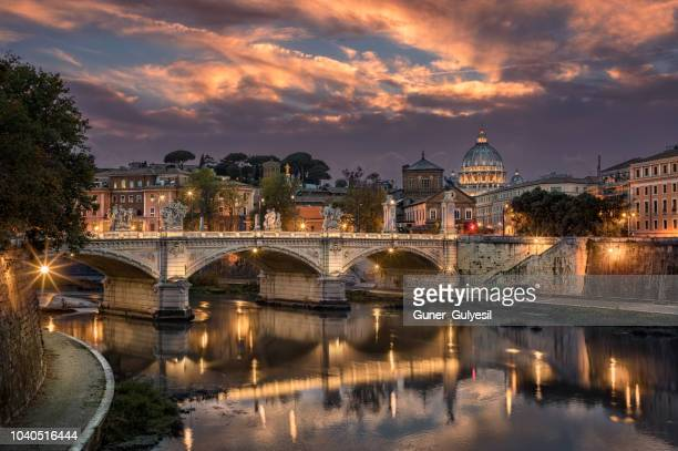 rome tiber & st. peters basilica, vatican, italy. - roma stock photos and pictures