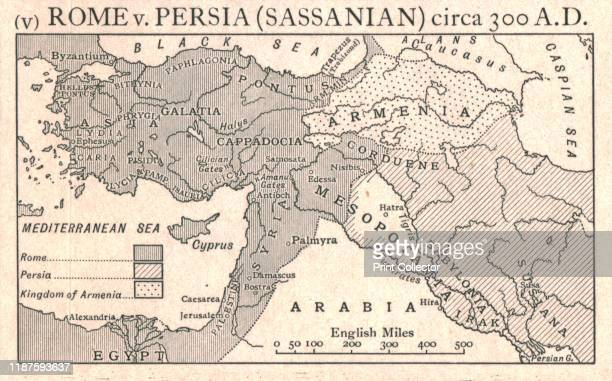 Rome v Persia circa 300 AD' circa 1915 Map of the eastern Mediterranean and Near East showing the ancient empires of Rome Persia and Armenia From The...