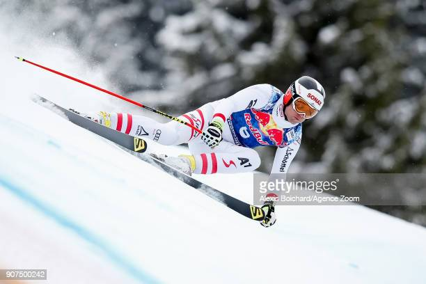 Romed Baumann of Austria competes during the Audi FIS Alpine Ski World Cup Men's Downhill on January 20 2018 in Kitzbuehel Austria
