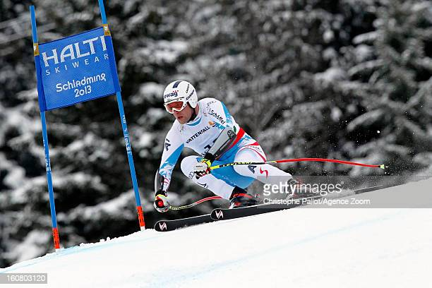Romed Baumann of Austria competes during the Audi FIS Alpine Ski World Championships Men's SuperG on February 06 2013 in Schladming Austria