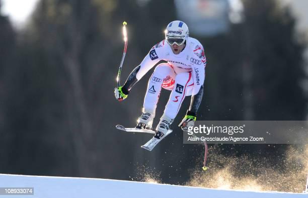 Romed Baumann of Austria competes during the FIS Alpine World Ski Championships Men's SuperG on February 9, 2011 in Garmisch-Partenkirchen, Germany.
