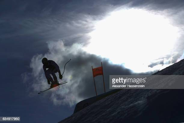Romed Baumann of Austria competes in the Men's Combined Downhill Training during the FIS Alpine World Ski Championships on February 12 2017 in St...