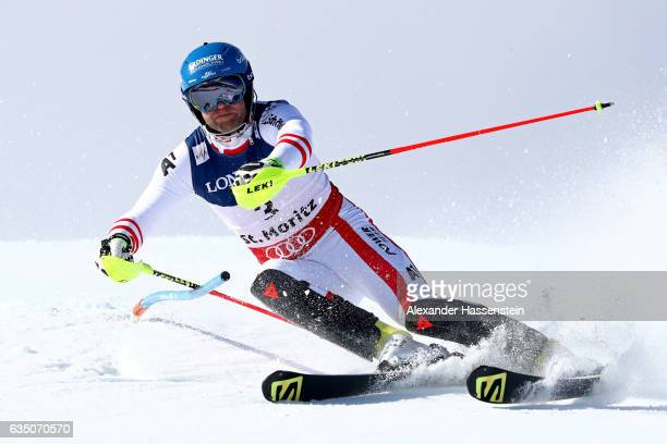 Romed Baumann of Austria competes in the Men's Combined Slalom during the FIS Alpine World Ski Championships on February 13 2017 in St Moritz...