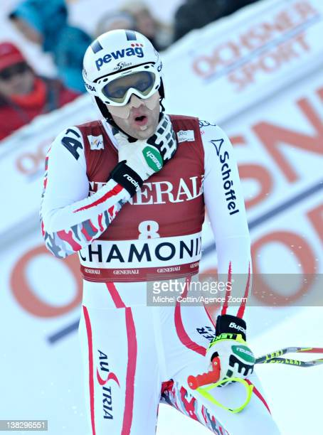 Romed Baumann of Austria during the Audi FIS Alpine Ski World Cup Men's Super Combined on February 5 2012 in Chamonix France