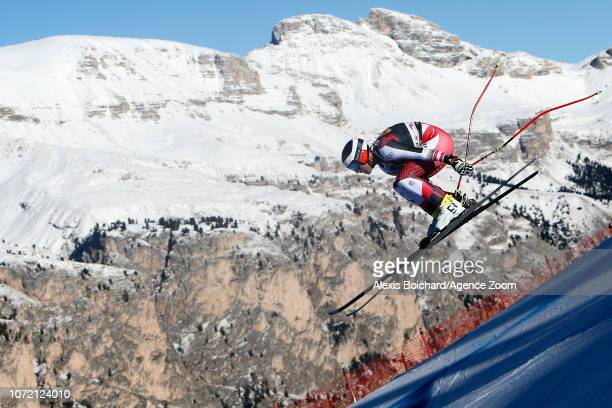 Romed Baumann of Austria in action during the Audi FIS Alpine Ski World Cup Men's Downhill Training on December 12 2018 in Val Gardena Italy