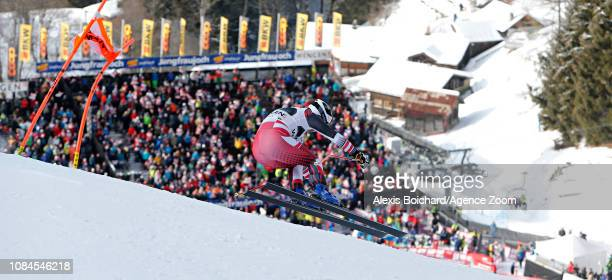 Romed Baumann of Austria in action during the Audi FIS Alpine Ski World Cup Men's Alpine Combined on January 18 2019 in Wengen Switzerland