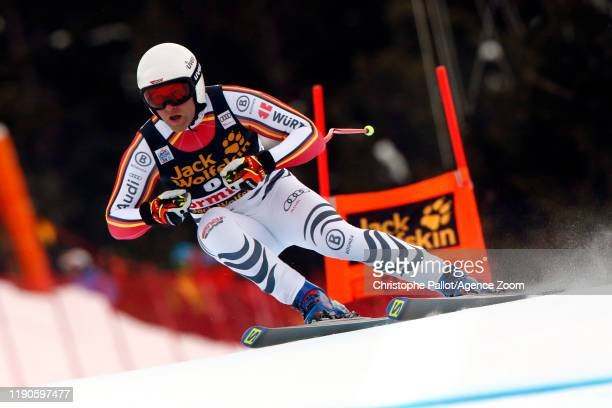 Romed Baumann of Austria in action during the Audi FIS Alpine Ski World Cup Men's Downhill on December 27, 2019 in Bormio Italy.