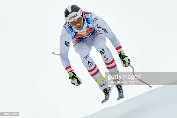 Romed Baumann of Austria performs during a training session of the FIS Alpine World Cup Men's downhill event in Kitzbuehel Austria on January 18 2018...