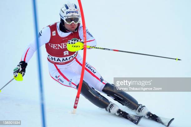 Romed Baumann of Austria takes 1st place during the Audi FIS Alpine Ski World Cup Men's Super Combined on February 5 2012 in Chamonix France