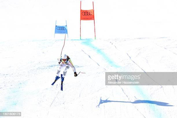 Romed Baumann of Germany makes the last jump as he competes in the Men's Super G during the FIS World Ski Championships Men's Super Giant Slalom on...