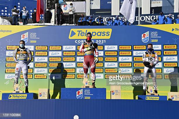 Romed Baumann of Germany wins the silver medal, Vincent Kriechmayr of Austria wins the gold medal, Alexis Pinturault of France wins the bronze medal...