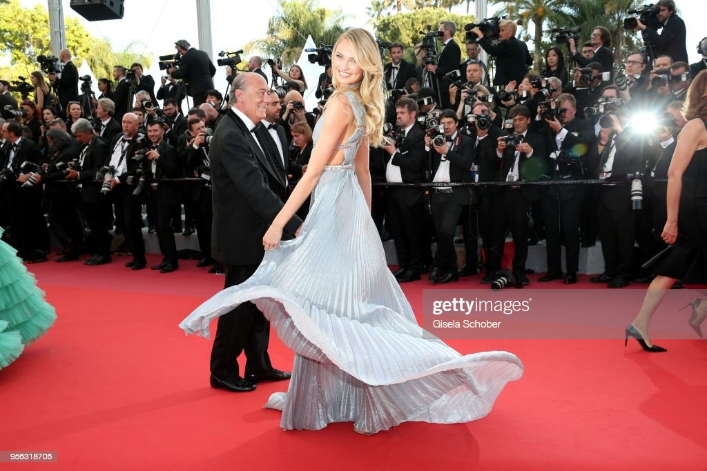 Romee Strijd (R) and Fawaz Gruosi, DeGrisogono, attend the screening of 'Everybody Knows (Todos Lo Saben)' and the opening gala during the 71st annual Cannes Film Festival at Palais des Festivals on May 8, 2018 in Cannes, France.
