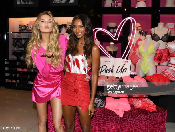 Romee Strijd and Jasmine Tookes attend Victoria's Secret Angels Jasmine Tookes And Romee Strijd Celebrate Valentines Day at Victoria's Secret Beverly...