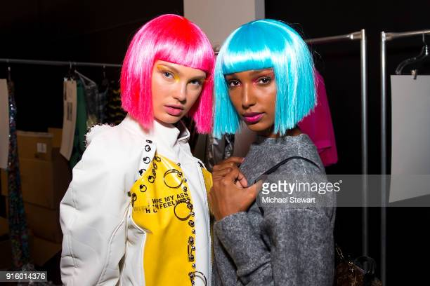 Romee Strijd and Jasmine Tookes pose backstage before the Jeremy Scott fashion show during New York Fashion Week at Gallery I at Spring Studios on...