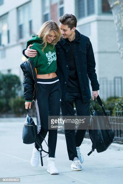 Romee Strijd and Laurens van Leeuwen are seen in Washington Square Park on January 15 2018 in New York City