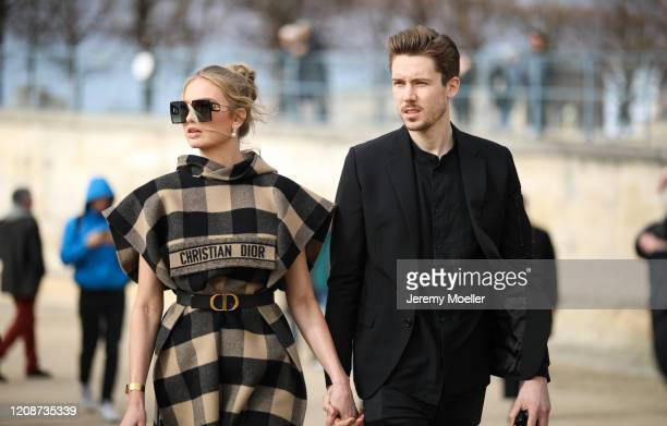 Romee Strijd and Laurens van Leeuwen are seen wearing a complete Dior look outside Dior during Paris Fashion Week Womenswear Fall/Winter 2020/2021...