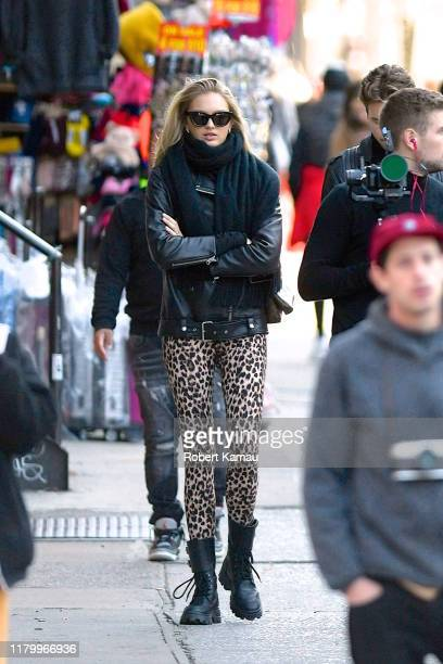 Romee Strijd and Laurens Van Leeuwen seen out and about in Manhattan on November 4 2019 in New York City