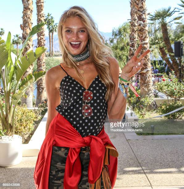 Romee Strijd at the REVOLVE Desert House during Coachella on April 15 2017 in Palm Springs California on April 15 2017 in Palm Springs California