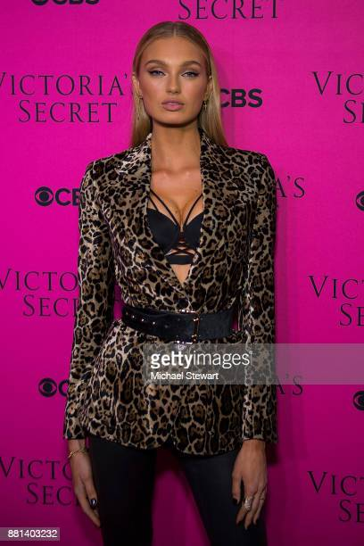 Romee Strijd attends the 2017 Victoria's Secret Fashion Show viewing party pink carpet at Spring Studios on November 28 2017 in New York City