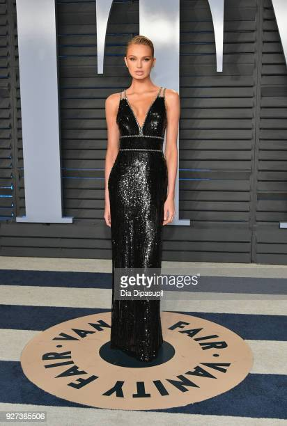 Romee Strijd attends the 2018 Vanity Fair Oscar Party hosted by Radhika Jones at Wallis Annenberg Center for the Performing Arts on March 4, 2018 in...