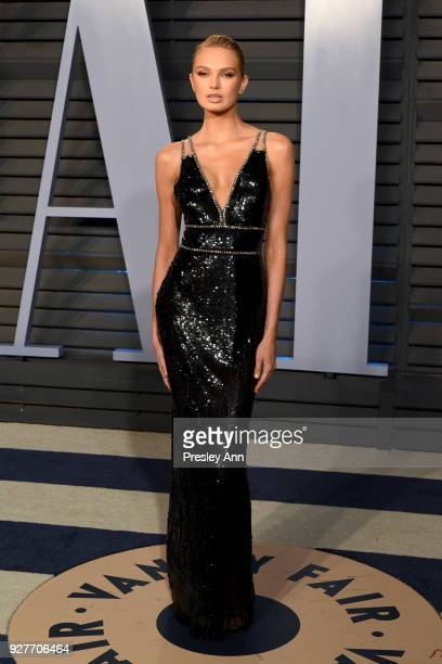 Romee Strijd attends the 2018 Vanity Fair Oscar Party Hosted By Radhika Jones Arrivals at Wallis Annenberg Center for the Performing Arts on March 4...