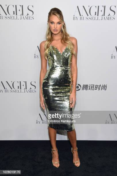 Romee Strijd attends the 'ANGELS' by Russell James book launch and exhibit hosted by Cindy Crawford and Candice Swanepoel at Stephan Weiss Studio on...