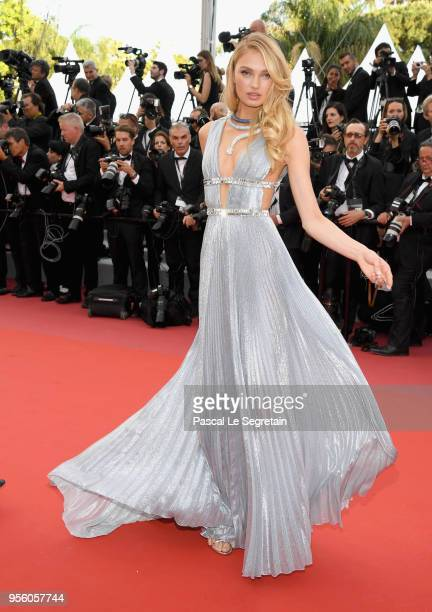 Romee Strijd attends the screening of Everybody Knows and the opening gala during the 71st annual Cannes Film Festival at Palais des Festivals on May...