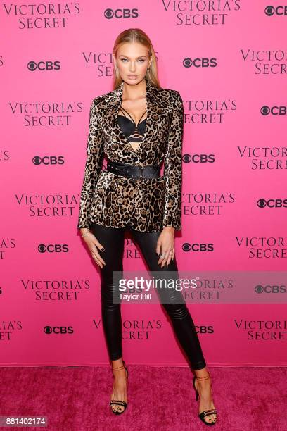 Romee Strijd attends the Victoria's Secret Viewing Party Pink Carpet celebrating the 2017 Victoria's Secret Fashion Show in Shanghai at Spring...