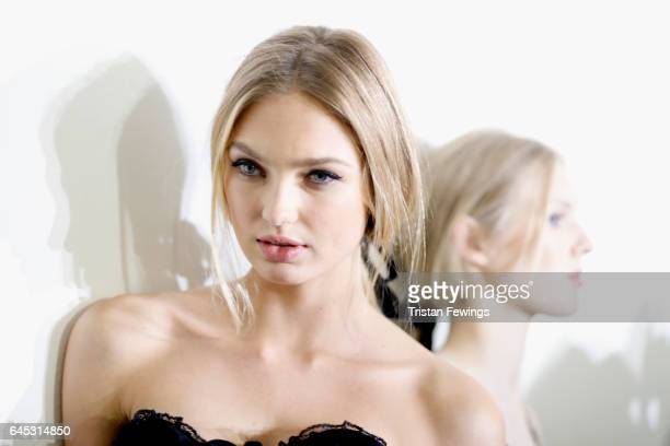 Romee Strijd is seen backstage ahead of the Philosphy Di Lorenzo Serafini show during Milan Fashion Week Fall/Winter 2017/18 on February 25 2017 in...