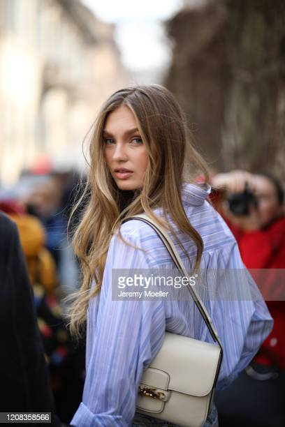 Romee Strijd is seen before Etro during Milan Fashion Week Fall/Winter 20202021 on February 21 2020 in Milan Italy