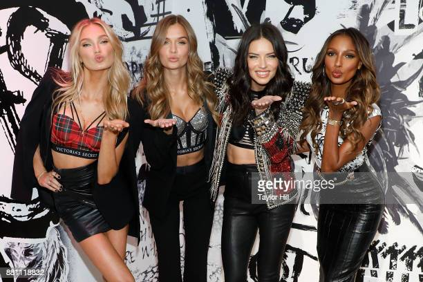Romee Strijd Josephine Skriver Adriana Lima and Jasmine Tookes attend the Victoria's Secret Shop The Runway for VS x Balmain preceding the screening...