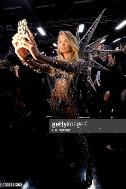 Romee Strijd poses backstage during the 2018 Victoria's Secret Fashion Show at Pier 94 on November 8 2018 in New York City