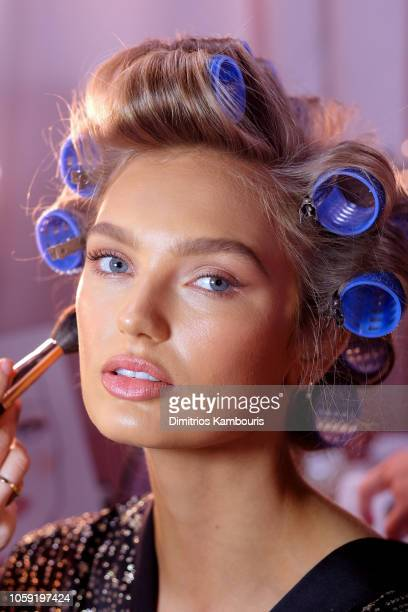 Romee Strijd prepares backstage during the 2018 Victoria's Secret Fashion Show in New York at Pier 94 on November 8, 2018 in New York City.