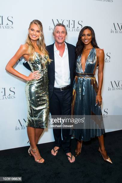 Romee Strijd, Russell James and Jasmine Tookes attend the Russell James 'Angels' book launch & exhibit at Stephan Weiss Studio on September 6, 2018...