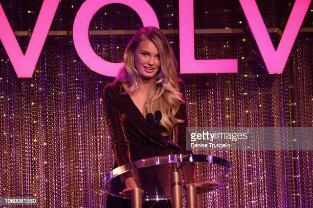 Romee Strijd speaks onstage during REVOLVE Presents The 2nd Annual #REVOLVEawards at Palms Casino Resort on November 9 2018 in Las Vegas Nevada