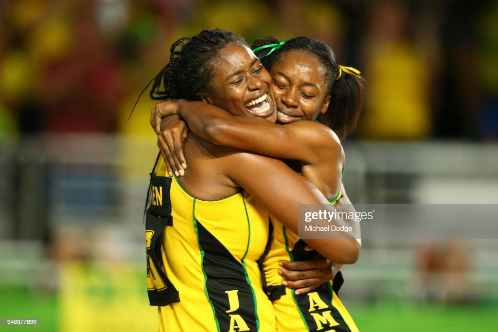 Romelda Aiken and Shanice Beckford of Jamaica (R) celebrate victory in the Netball Bronze Medal Match on day 11 of the Gold Coast 2018 Commonwealth Games at Coomera Indoor Sports Centre on April 15, 2018 on the Gold Coast, Australia.