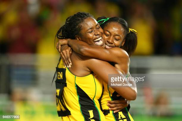 Romelda Aiken and Shanice Beckford of Jamaica celebrate victory in the Netball Bronze Medal Match on day 11 of the Gold Coast 2018 Commonwealth Games...