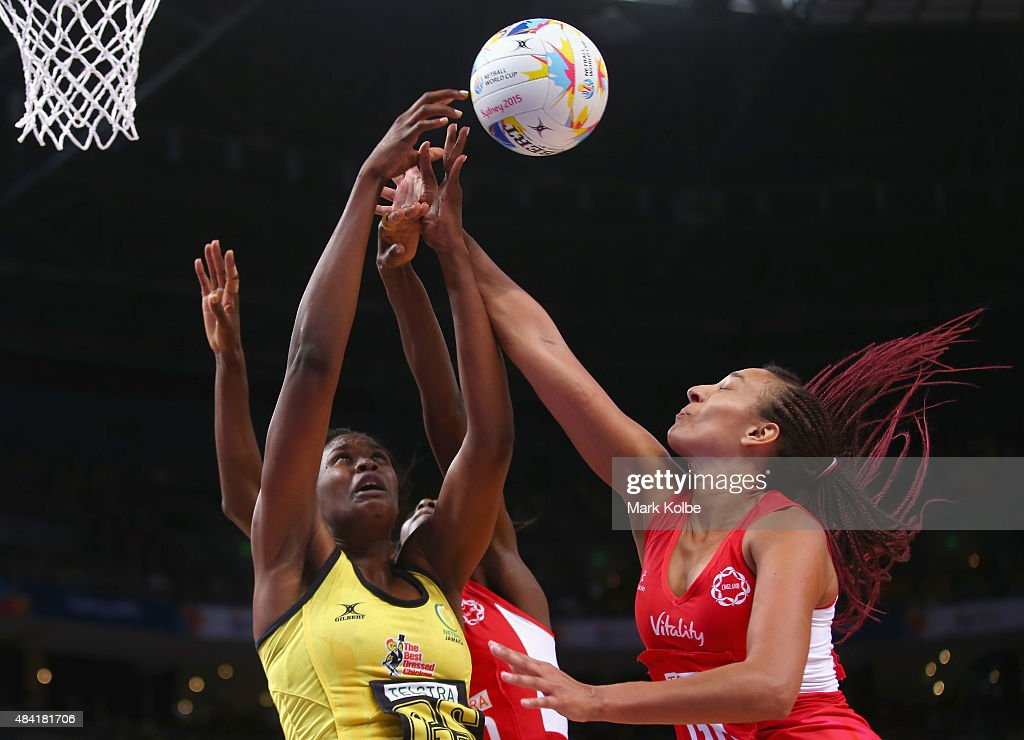 Romelda Aiken of Jamaica and Geva Mentor of England compete for the ball during the 2015 Netball World Cup Bronze Medal match between England and Jamaica at Allphones Arena on August 16, 2015 in Sydney, Australia.
