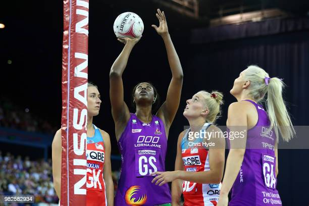 Gretel Tippett of the Firebirds shoots during the round eight Super Netball match between the Firebirds and the Swifts at Brisbane Entertainment...