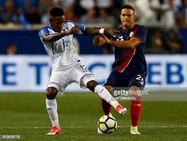Romell Quioto of Honduras fights for the ball with David Guzman of Costa Rica during their CONCACAF Gold Cup match at Red Bull Arena on July 7 2017...