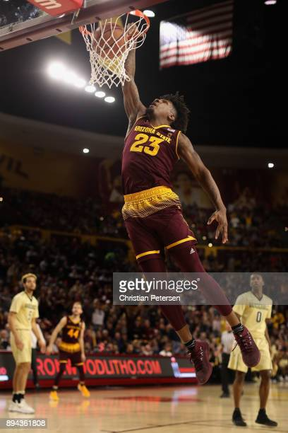 Romello White of the Arizona State Sun Devils slam dunks the ball against the Vanderbilt Commodores during the second half of the college basketball...