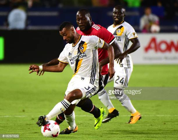 Romelo Lukaku of Manchester United chases after Ashley Cole of Los Angeles Galaxy during the second half of a 52 United victory at StubHub Center on...