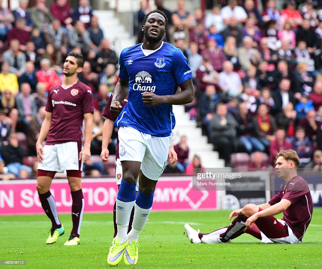 Romelu Lukakau of Everton celebrates scoring his second goal from the penalty spot during a pre season friendly match between Heart of Midlothian and Everton FC at Tynecastle Stadium on July 26, 2015 in Edinburgh, Scotland.