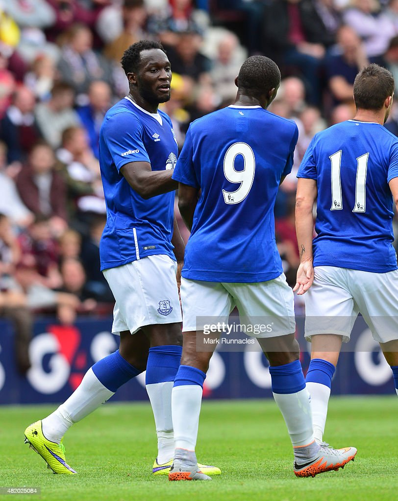 Romelu Lukakau of Everton celebrates scoring his second goal from the penalty spot with team mate Arouna Kone during a pre season friendly match between Heart of Midlothian and Everton FC at Tynecastle Stadium on July 26, 2015 in Edinburgh, Scotland.
