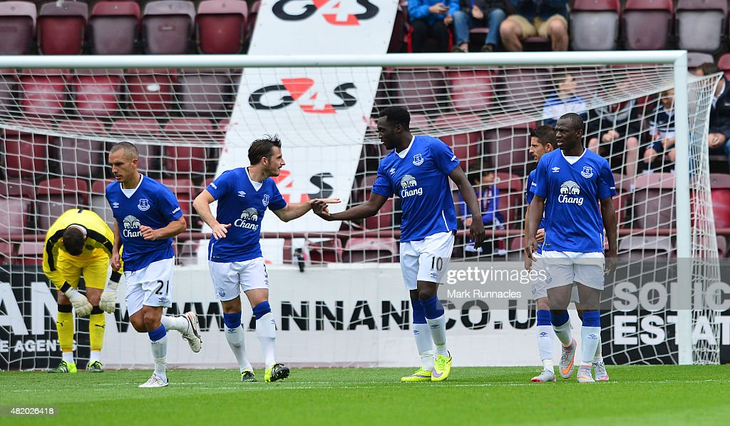 Romelu Lukakau of Everton celebrates scoring his third goal in the second half from the penalty spot during a pre season friendly match between Heart of Midlothian and Everton FC at Tynecastle Stadium on July 26, 2015 in Edinburgh, Scotland.