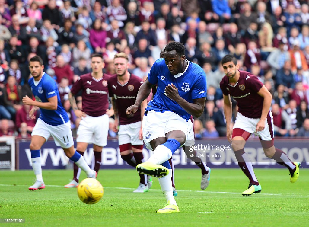 Romelu Lukakau of Everton scores a goal in the first half from the penalty spot during a pre season friendly match between Heart of Midlothian and Everton FC at Tynecastle Stadium on July 26, 2015 in Edinburgh, Scotland.