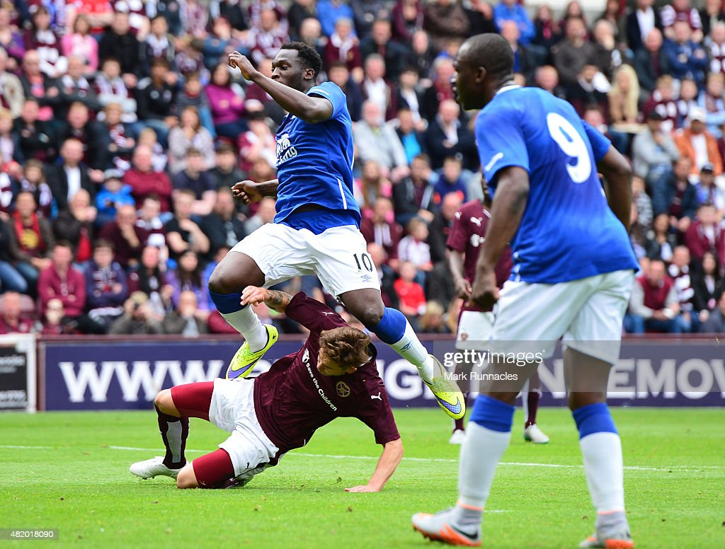 Romelu Lukakau of Everton scores his second goal in the first half from the penalty spot during a pre season friendly match between Heart of Midlothian and Everton FC at Tynecastle Stadium on July 26, 2015 in Edinburgh, Scotland.