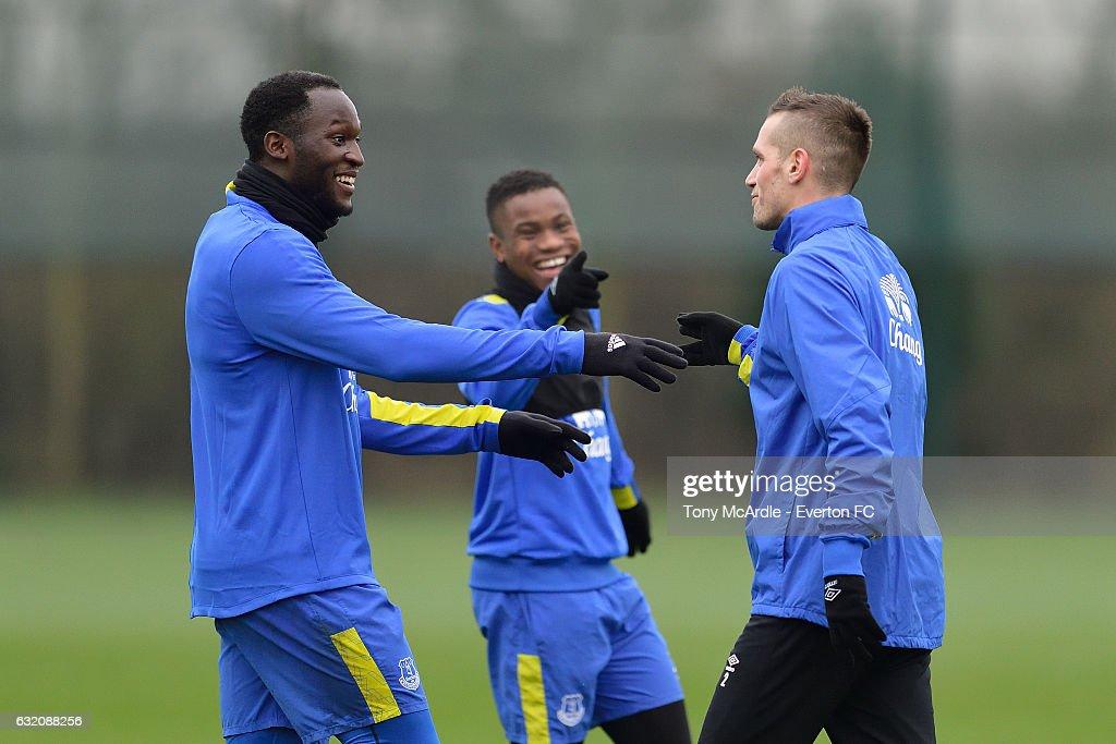 \Romelu Lukaku (L) Ademola Lookman and Morgan Schneiderlin during the Everton FC training session at USM Finch Farm on January 19, 2017 in Halewood, England.